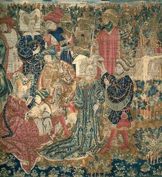 The Falconers  ARTIST:Artist Unknown  DATE:1435-1445  MEDIUM:Wool; tapestry weave  DIMENSIONS:135 x 128 1/4 in. (342.9 x 325.76 cm) (irregular)  CREATION PLACE:Europe, France, Arras  CREDIT LINE:Gift of Mrs. C. J. Martin for the Charles Jairus Martin Memorial Collection  ACCESSION NUMBER:15.34