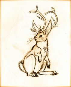 A more traditional jackalope may match the other tattoos better though