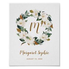 Watercolor Magnolia Wreath Nursery Baby Monogram Poster
