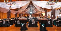 Wow! Holiday inspired silver and black wedding reception theme...