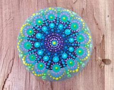 New Mandala Stone  Painted Rock  Colorful Dot by P4MirandaPitrone