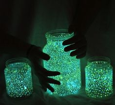 Easy way to make a fairy jar! Get glow in the dark paint and a jar. Paint dots all over the inside of the jar. Put it out in the sun to charge. Then take it inside and turn of the lights.
