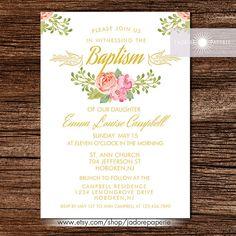 Baptism Invitation Baptism Invite Printable by JadorePaperie