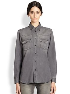 BLACK Washed Denim Shirt