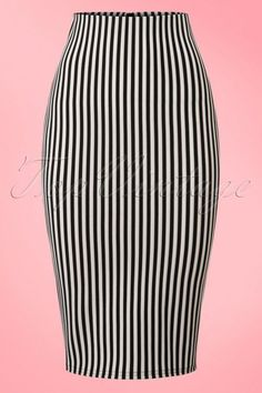 Vintage Chic for TopVintage 50s Robin Stripes Pencil Skirt in Black and White online kopen