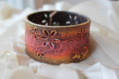 Hand Painted Distressed Leather Wrist Cuff by PurelyPoiema on Etsy, $38.00