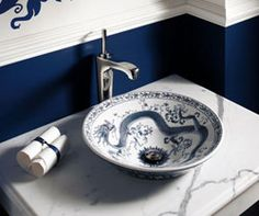 Artist editions' imperial blue sink in vitreous china by Kohler Co.