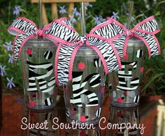 Zebra Print Acrylic Tumbler with Lid and Straw