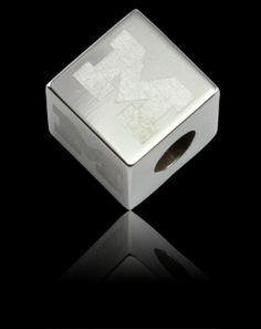GW51Z0102 - Polished Steel Cube Bead with Four Block 'M' Logos Engraved. https://www.facebook.com/CNoteUniversityofMichigan