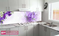 Splashbacks Glass design - Purple and white flowers - 100555 Küchen Design, Glass Design, Purple And White Flowers, Abstract Designs, Cake Cookies, New Homes, Kitchen Cabinets, 3d, House