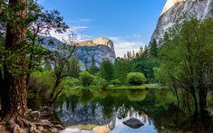 Download wallpapers Mirror Lake, Yosemite Valley, 4k, mountains, Yosemite National Park, USA, America