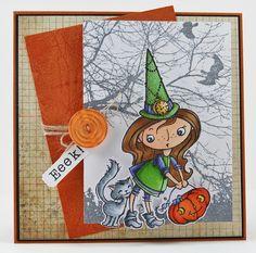 Eeek by melindagleiss, via Flickr - Melinda has created a darling card for #Halloween using new #Stampendous images!