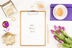 Styled desktop purple tulips by JustLikeMyDesktop on Creative Market Blog Banner, Empty Frames, Popular Flowers, Purple Tulips, Banner Images, Leaf Shapes, Paint Markers, Desk Accessories, Business Card Logo