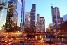 Chicago, Buildings, Night, wallpapers