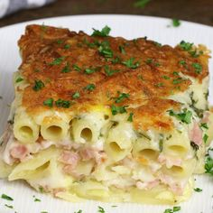Layered Ham And Cheese Pasta Bake – creamy and cheesy layered penne pasta, ham and Swiss cheese baked in the heavy cream and eggs mix. Perfect dinner for a hungry crowd! Quick and easy dinner recipe