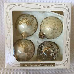 Christmas by Krebs Set 4 Blown Glass Ball Ornaments Ivory & Gold