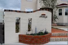 Gate Post, Fencing, Brick, Courtyard Landscaping, Houses, Facades, Fence, Lawn And Garden, Fences