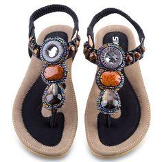 Fashion 2016 Women Summer Flat Sandals Bohemia Women Bead Flip Flops Shoes Sandles Ladies Elastic Slip On Beach Shoes