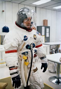"""humanoidhistory: """" TODAY IN HISTORY: Apollo 13 astronaut Jim Lovell undergoes spacesuit checks a few hours before launching from Cape Canaveral, 11 April 1970. (NASA) """""""