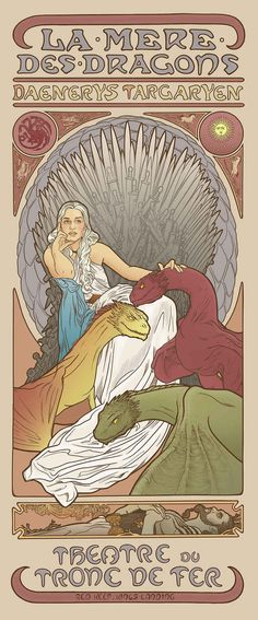 Daenerys Targaryen - Elin Jonsson's Game of Thrones art nouveau illustrations in the style of Alphonse Mucha Alphonse Mucha, Art Game Of Thrones, Dessin Game Of Thrones, Game Of Thrones Flags, Game Of Thrones Poster, Illustration Photo, Illustration Art Nouveau, Funny Illustration, Design Illustrations