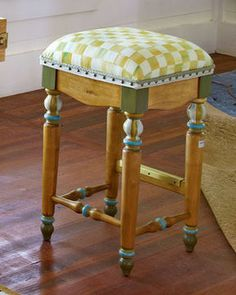 MacKenzie-Childs Parchment Check Barstool on shopstyle.com