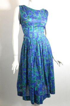 Shirred Shoulder Blue Summer Dress circa 1960s - Dorothea's Closet Vintage