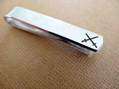 Swords Tie Bar  Custom Tie Clip by TesoroJewelry on Etsy
