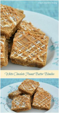 White Chocolate Peanut Butter Blondies | Simply Southern Baking
