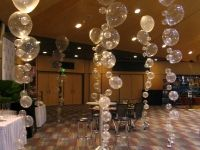 Bubble strands for a reception, New Years Eve, etc. Hang them from the ceiling in clusters or like the pic by the dance floor! Or you can do that for a pool party or mermaid party as bubbles Balloon Decorations, Wedding Decorations, Balloon Ideas, Mermaid Decorations, Balloon Balloon, Balloon Party, Bubble Guppies Birthday, Bubble Party, Festa Party