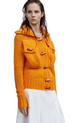Margarites chunky cardigan sweater jacket with large pockets and bamboo buttons in curry orange #AcneStudios #Resort2015