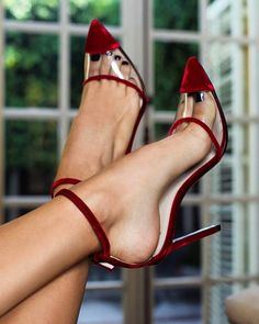 Wine Red Velvet Clear PVC Ankle Strap Heels Pumps for Work, Formal event, Ball Lace Up Heels, Ankle Strap Heels, Pumps Heels, Stiletto Heels, Red Heels, Stilettos, Fall Heels, Daily Shoes, Hot High Heels