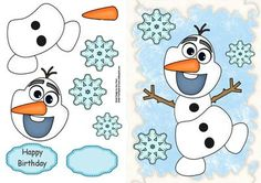 """Olaf The Snowman on Craftsuprint designed by Amy Perry - Olaf The Snowman in lovely snow effect frame with large blue snowflakes also has choice of tag """"Happy Birthday"""" and a blank tag for your own sentiment - Now available for download!"""