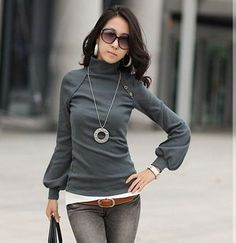 women puff sleeve shirt turtle neck top long sleeve basic top