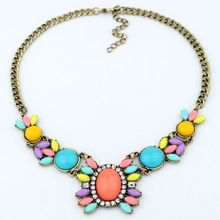 2014 new fashion in Europe and America Metal gem flower restoring ancient ways statement pendant necklace(China (Mainland))