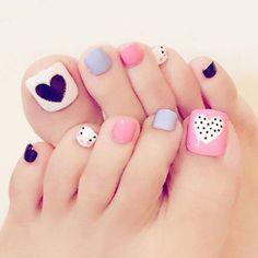 Heart Artificial Fake Toe Nails False Nail Tips For Summer Holiday Beach Pretty Toe Nails, Cute Toe Nails, Toe Nail Art, Fingernail Designs, Toe Nail Designs, Cute Toenail Designs, Pedicure Nails, Manicure, Pedicures