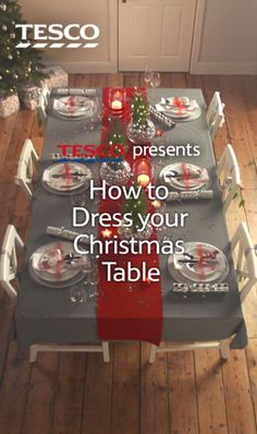 Watch for tips on how to create a festive tabletop, including how to make your own DIY mini tree centrepiece and personalised place settings. Your Christmas dinner table will definitely impress your guests! Shop the range here. Shared by Where YoUth Rise. Christmas Table Settings, Christmas Tablescapes, Christmas Centerpieces, Xmas Decorations, Christmas Dinner Ideas Decoration, Christmas Place Setting, Christmas Table Set Up, Holiday Tables, Christmas 2017