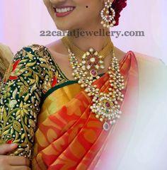 Jewellery Designs: Bride in Kundan Necklace Chandbalis