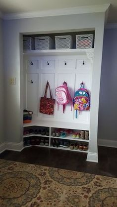 Closet turned into a mini-mudroom! Such a clever project by RYOBI Nation member Kabbnet. This is a really great DIY project to improve the look of an entryway.