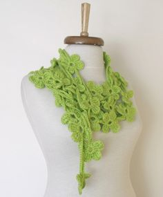 Double Spring Green Bloom ScarfREADY FOR by knittingshop on Etsy, $25.00
