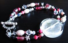 Double Strand Pink and Silver Tropical Bracelet by HuntJewelz