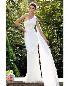 Modern Sheath One-shoulder Watteau Train Lace Wedding Dress   LynnBridal.com