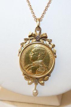 Tres Joli Pendentif Ancien En Or 18K Et Piece De 20 Francs Belge 2 • EUR 600,00