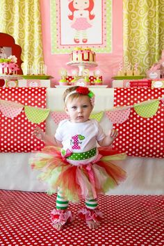 Strawberry Shortcake Themed 1st Birthday Party with Such Cute Ideas via Kara's Party Ideas | KarasPartyIdeas.com #strawberryshortcakecake #b...