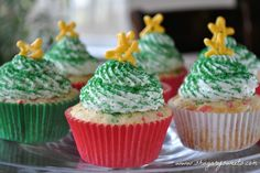 Confetti Cupcakes with Christmas Tree Frosting
