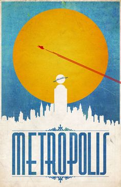 Art Deco Styled design of a poster of the city Superman protects