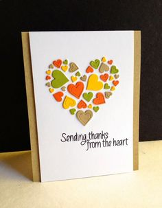 Today's thankful card has taken a leave from leaves and gone to the heart...an Impression Obsession Heart die and another sentiment from the Simon Says Stamp Lots of Thanks set from the last 3 days..
