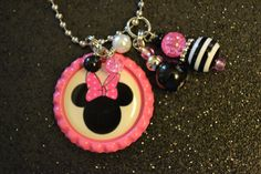 Pink and Black Minnie Mouse Bottlecap Necklace by lovethosebagz, $8.00