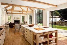 California farmhouse windows, farmhouse cabinets, modern farmhouse style, m House Plans, Home, Home Kitchens, Farmhouse Cabinets, Kitchen Design, Floor To Ceiling Windows, Sweet Home, House, Modern Farmhouse Kitchens