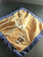 Tiddliwinks Bear Brown Blue Football Baby Lovey Lovie Security blanket plush 14x