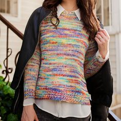 Colorful cotton knit sweater